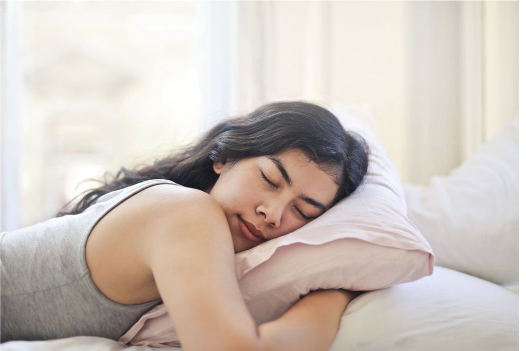 woman forcing sleep forcing rest