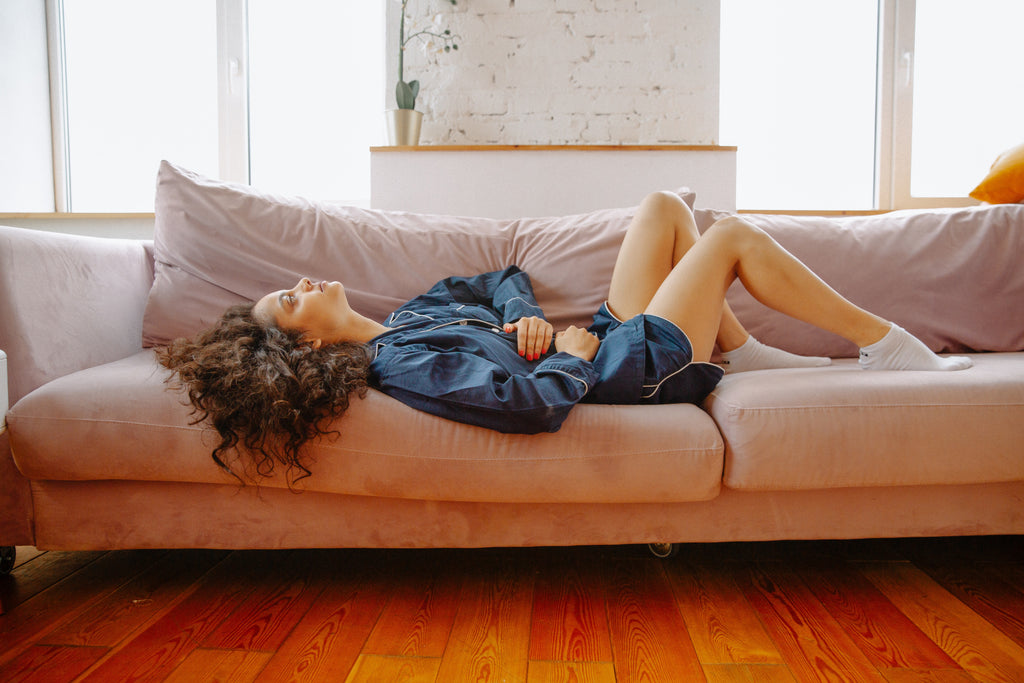 woman laying horizontal