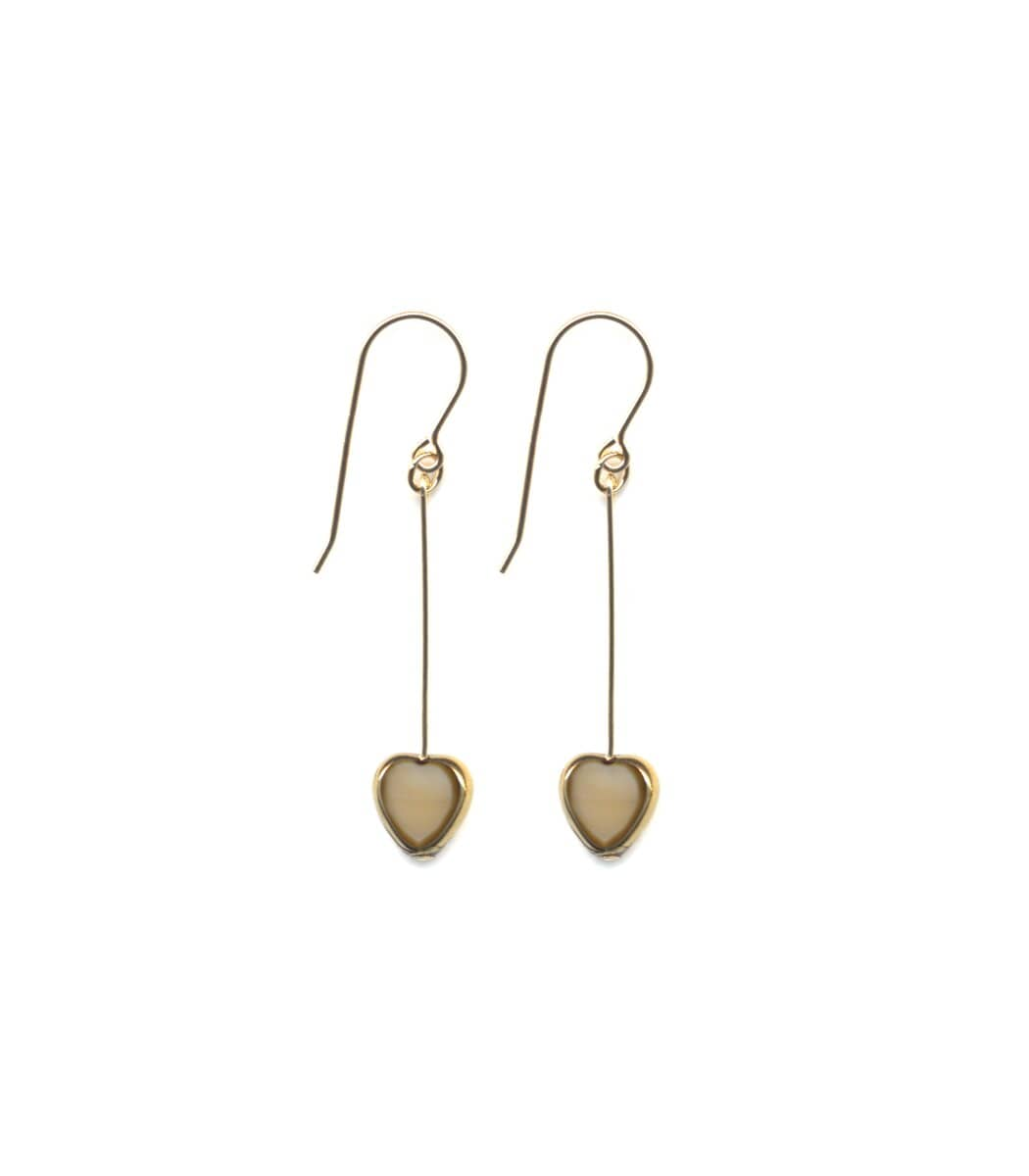 Irk Jewelry I. Ronni Kappos E1545 Beige Heart Drop Earrings