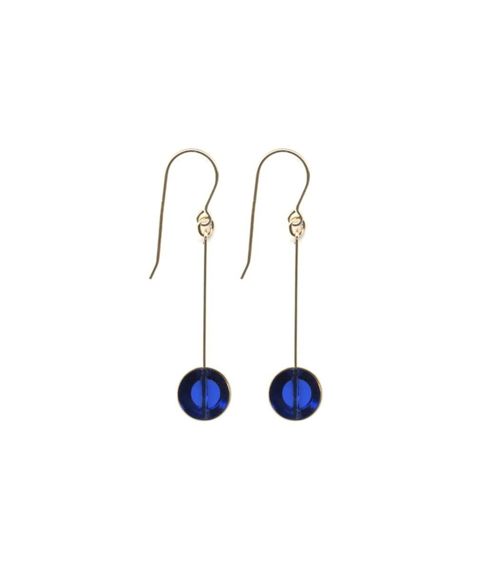 Irk Jewelry I. Ronni Kappos E1546 Translucent Blue Circle Drop Earrings