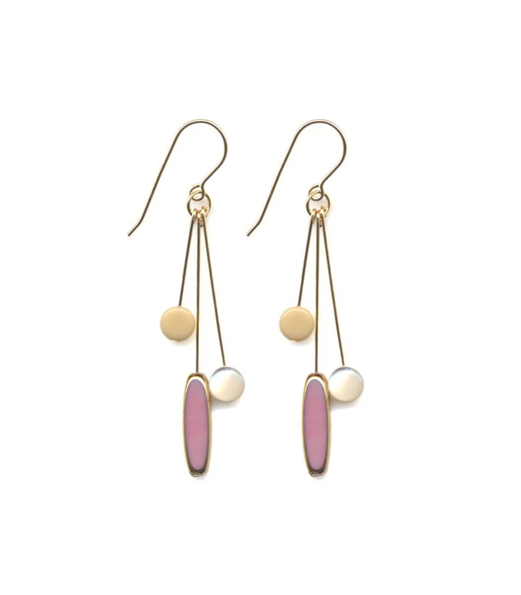 Irk Jewelry I. Ronni Kappos E1553 Pink Ellipse Cluster Earrings