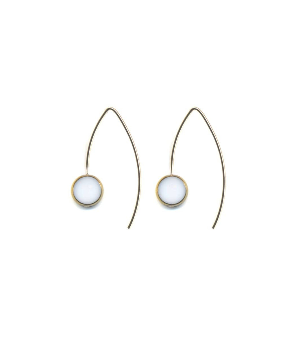 Irk Jewelry I. Ronni Kappos E1639 White Circle Drop with Hook Earrings
