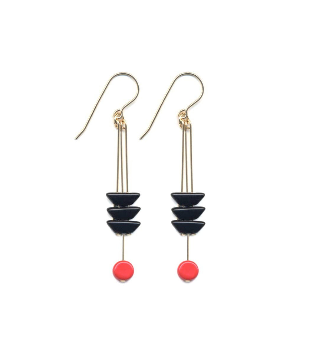 Irk Jewelry I. Ronni Kappos E1682 Black Arrow with Red Earrings