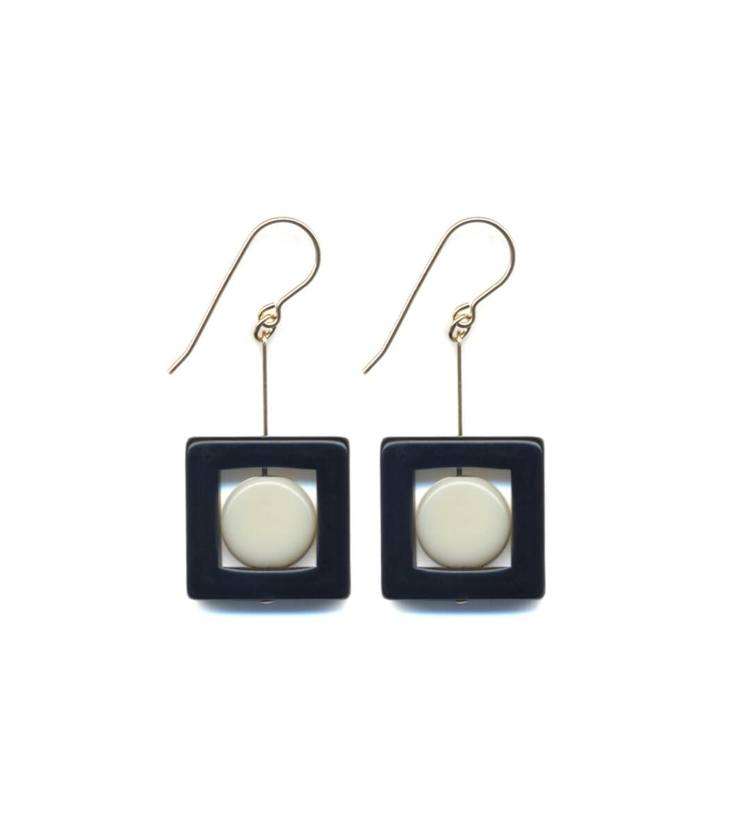 Irk Jewelry I. Ronni Kappos E1689 Black Square Drop Earrings