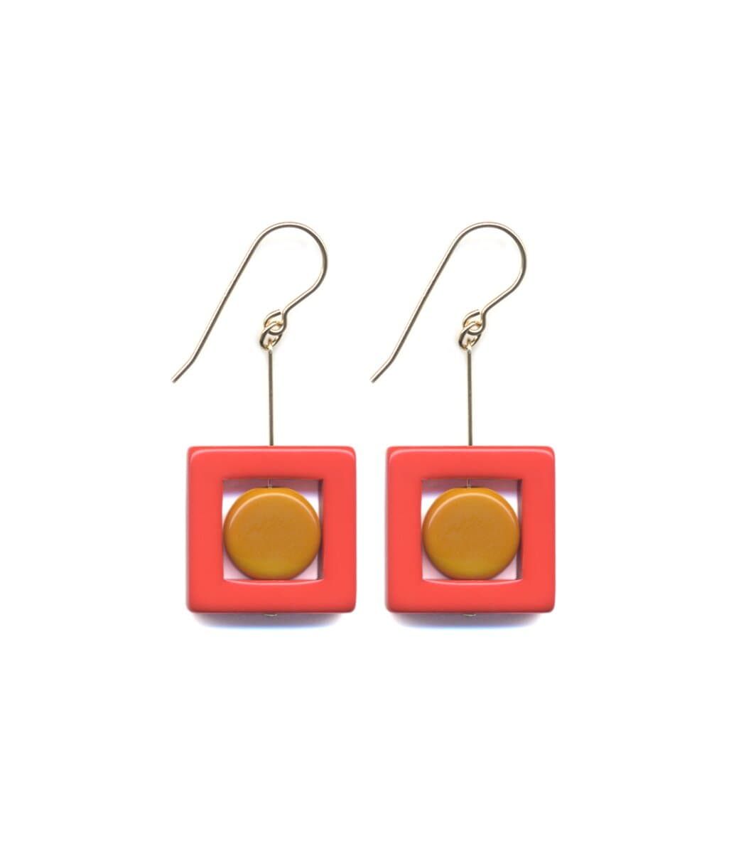 Irk Jewelry I. Ronni Kappos E1690 Red Square Drop Earrings