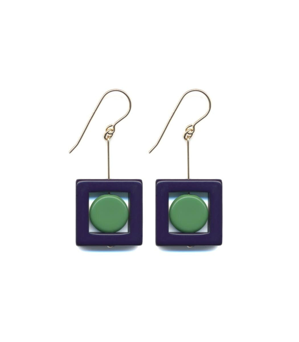 Irk Jewelry I. Ronni Kappos E1692 Navy Square Drop Earrings