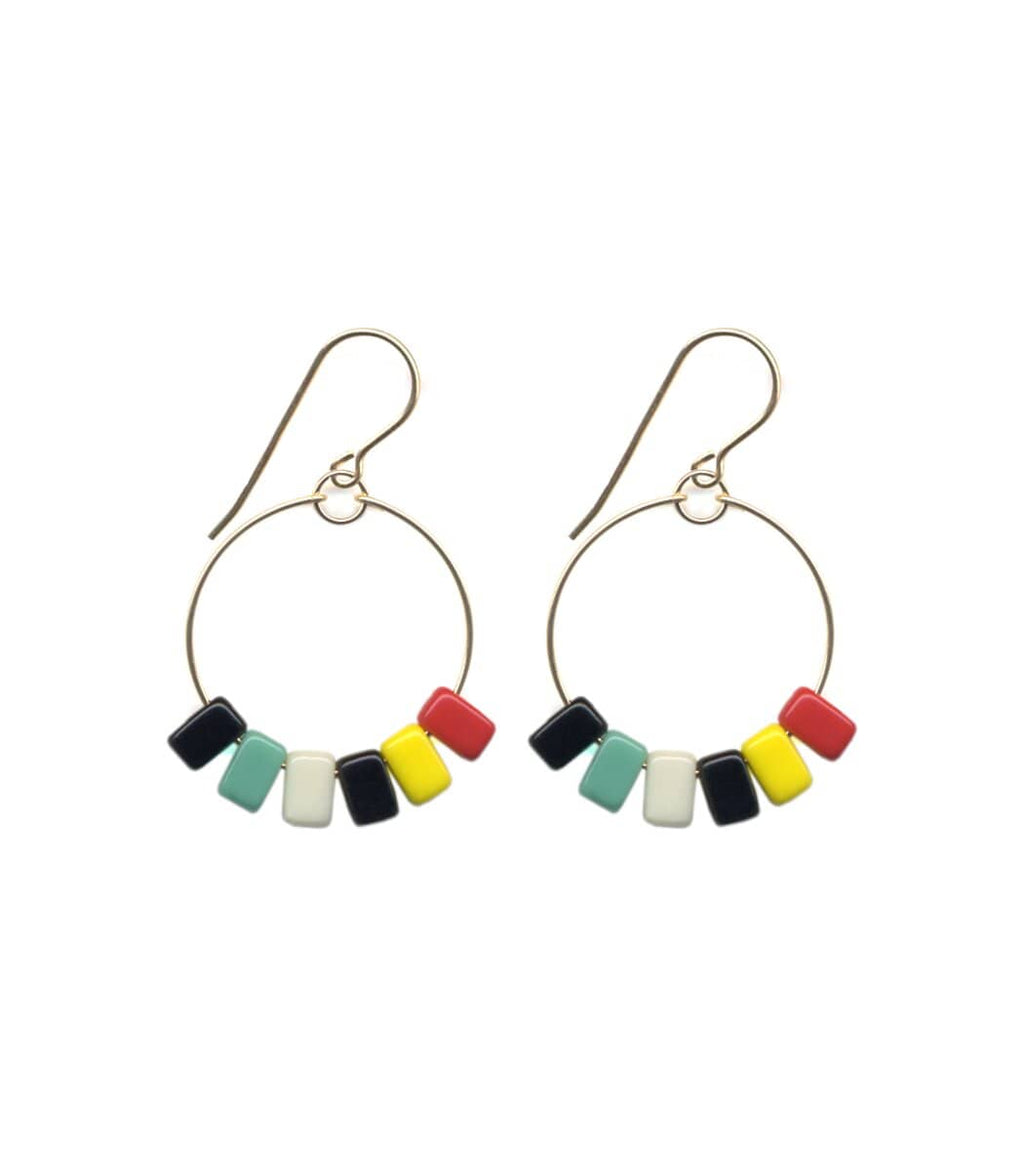 Irk Jewelry I. Ronni Kappos E1693 Bright Rectangle Fringe Hoop Earrings