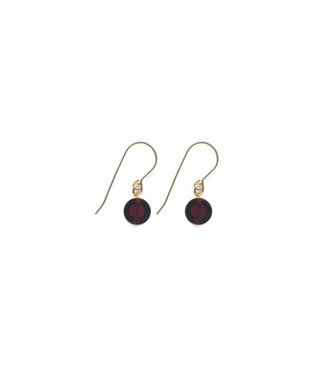 Irk Jewelry I. Ronni Kappos E1698 Small Deep Red Circle Drop Earrings