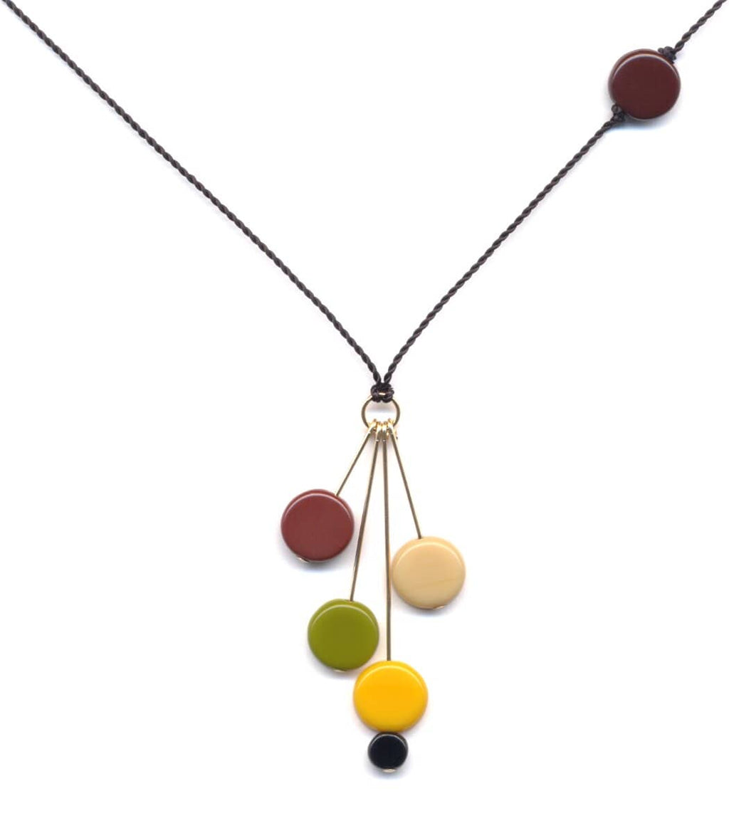 Irk Jewelry I. Ronni Kappos N0910 Retro Disks on Gold Pins Necklace