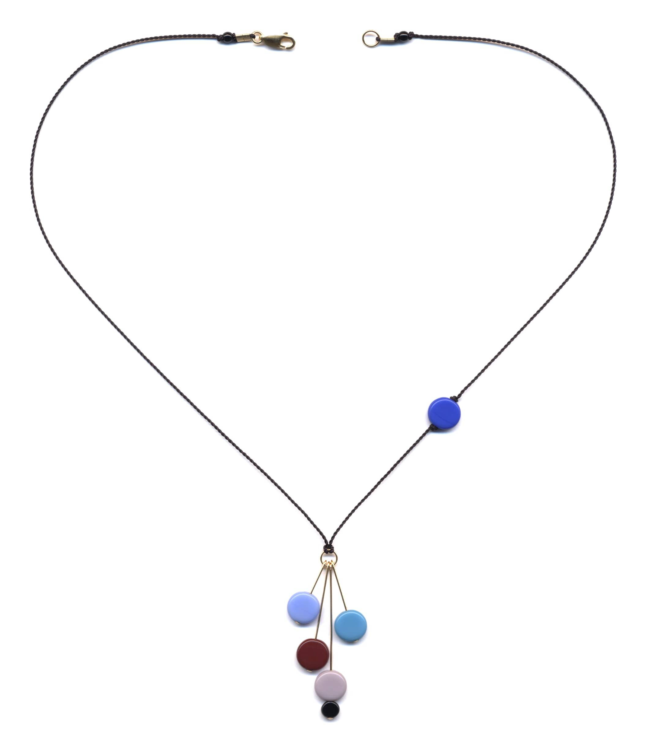 N0910B Blue Disks on Gold Pins Necklace