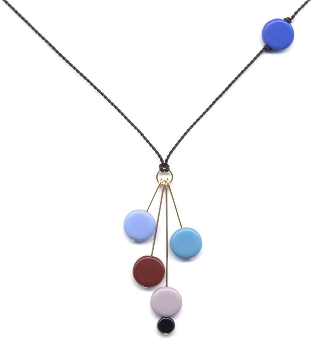 Irk Jewelry I. Ronni Kappos N0910B Blue Disks on Gold Pins Necklace