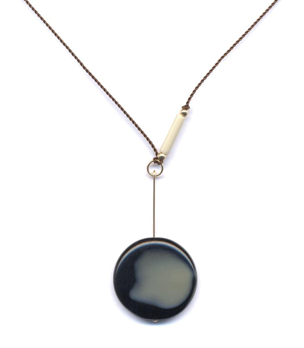 Irk Jewelry I. Ronni Kappos N1618 Black Swirl Drop Necklace