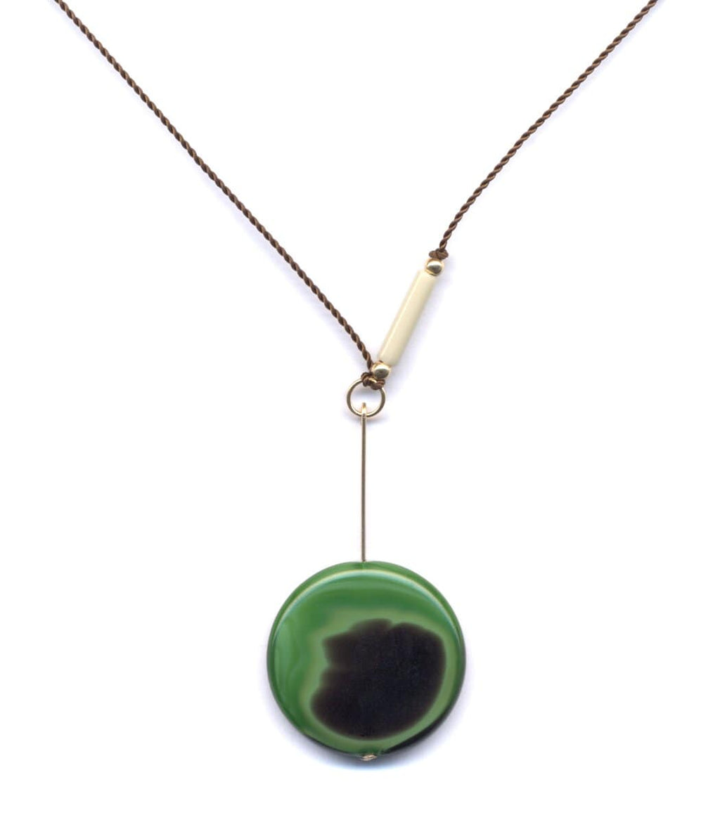 Irk Jewelry I. Ronni Kappos N1619 Green Swirl Drop Necklace
