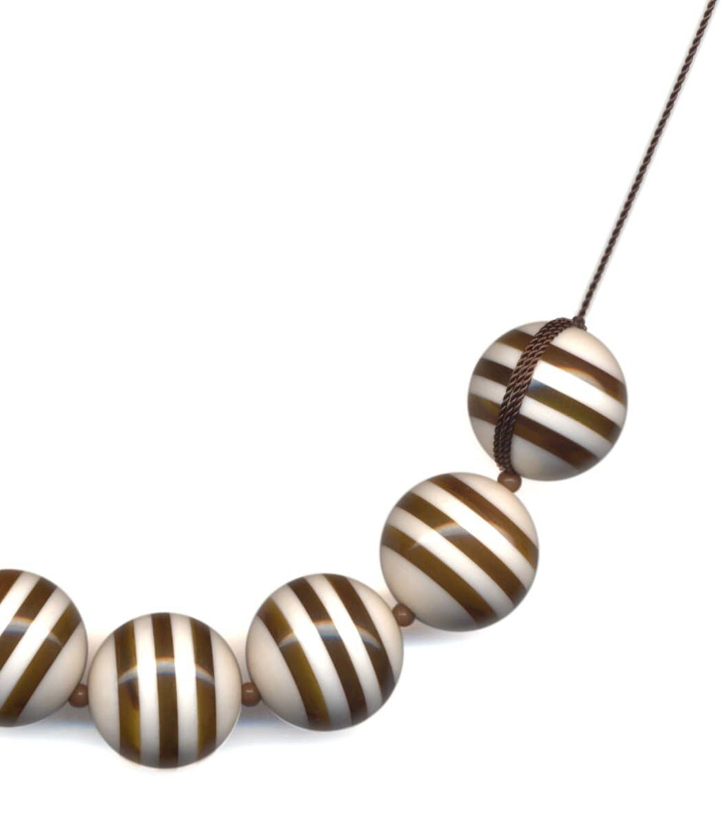 Irk Jewelry I. Ronni Kappos N1797 Ivory Stripes Necklace