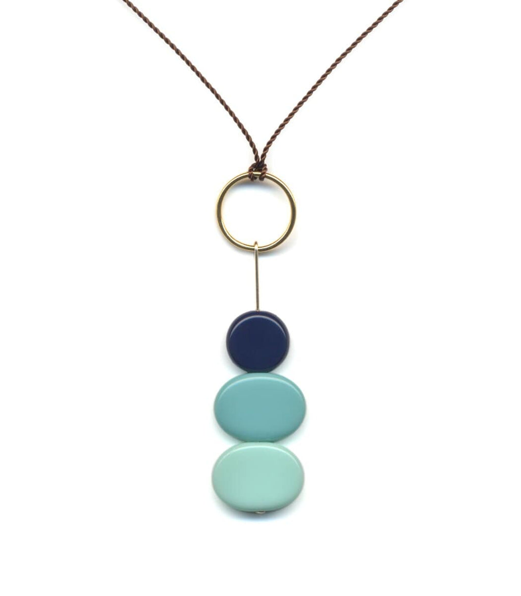 Irk Jewelry I. Ronni Kappos N1842 Blue Stacked Rocks Necklace