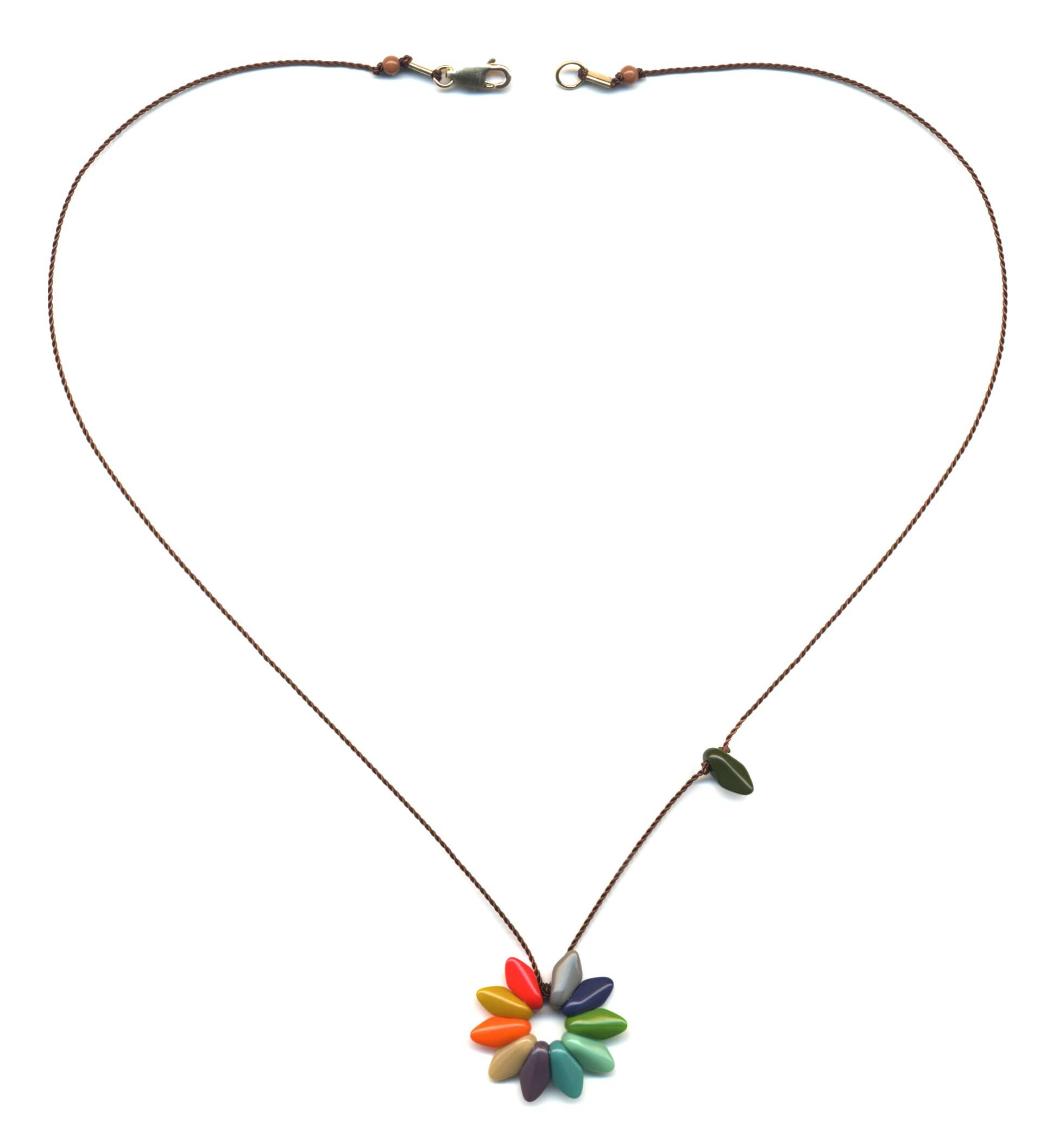 N1876 Small Rainbow Flower Necklace