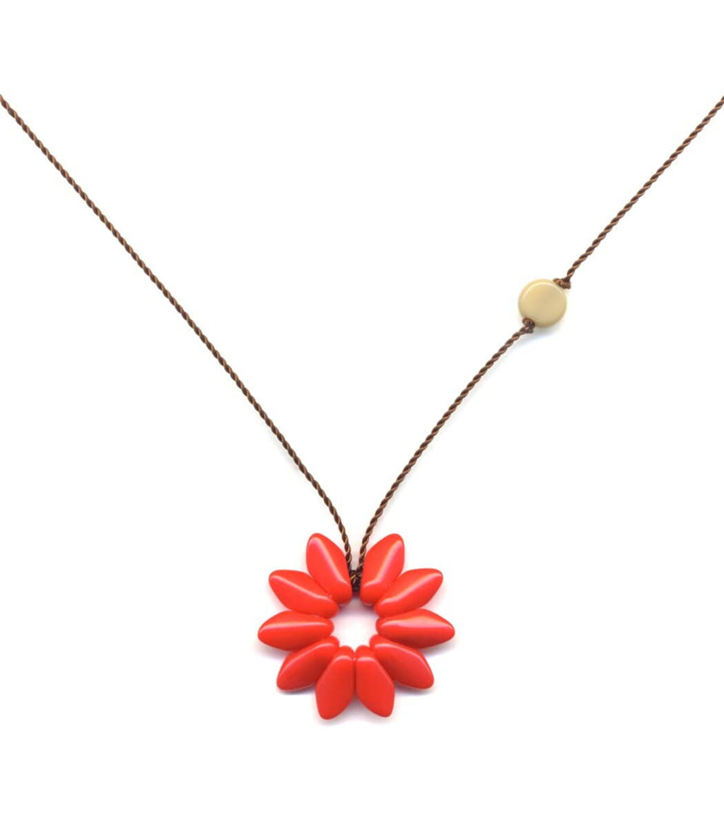 Irk Jewelry I. Ronni Kappos N1877 Small Red Flower Necklace