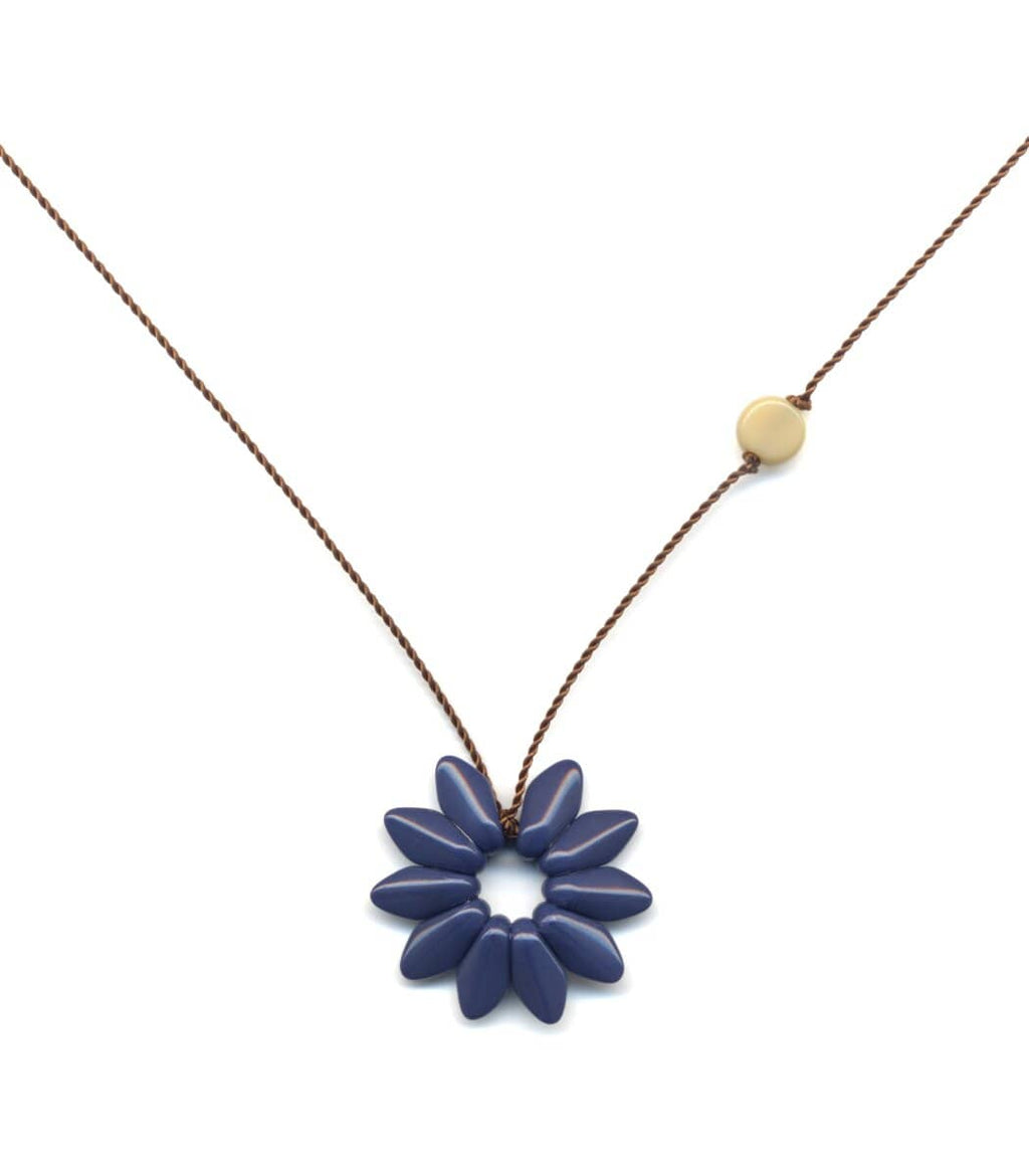 Irk Jewelry I. Ronni Kappos N1879 Small Navy Flower Necklace