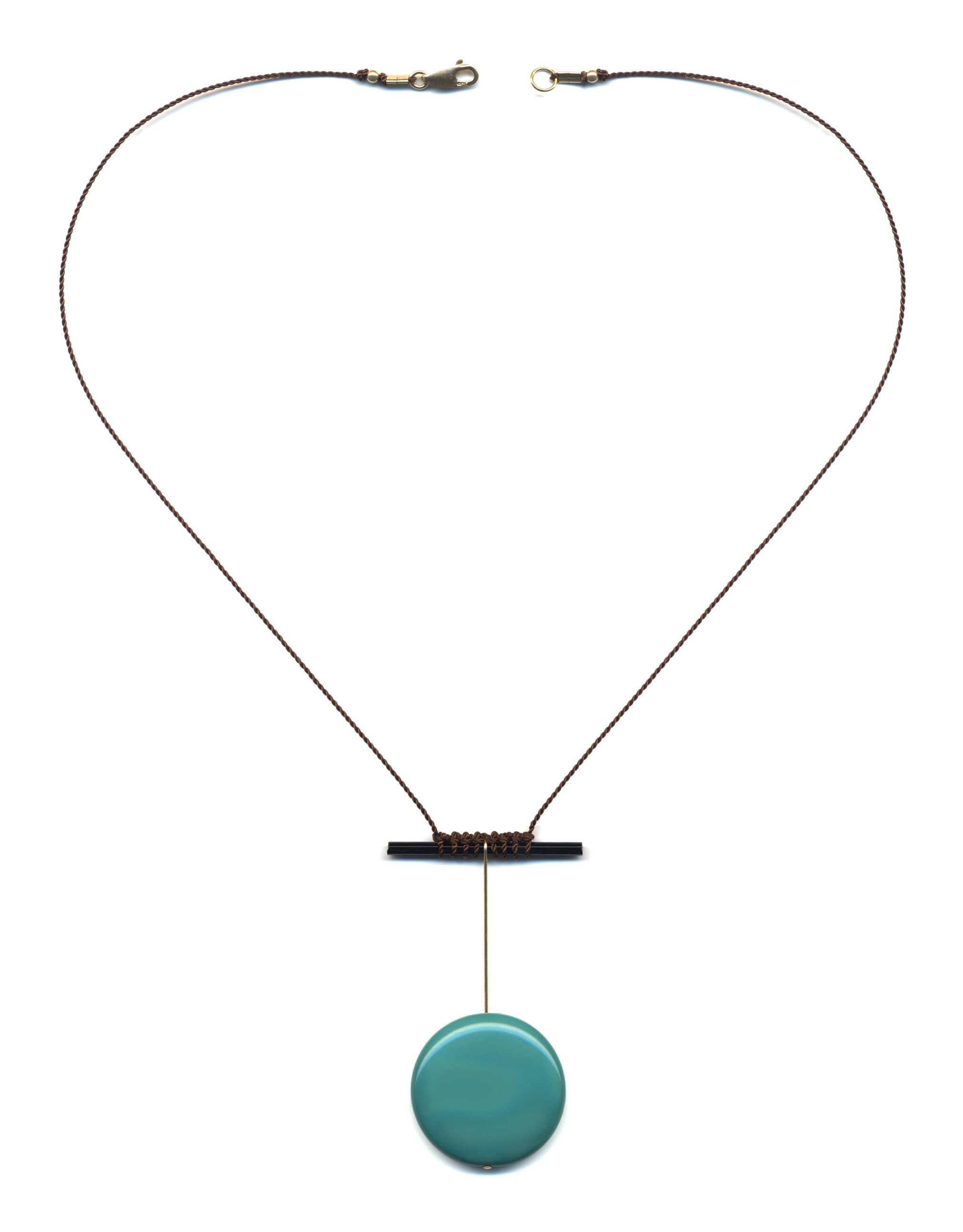 N1886 Teal Pendulum Necklace