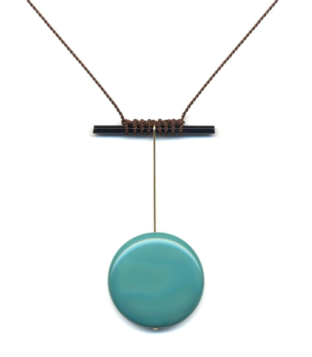 Irk Jewelry I. Ronni Kappos N1886 Teal Pendulum Necklace