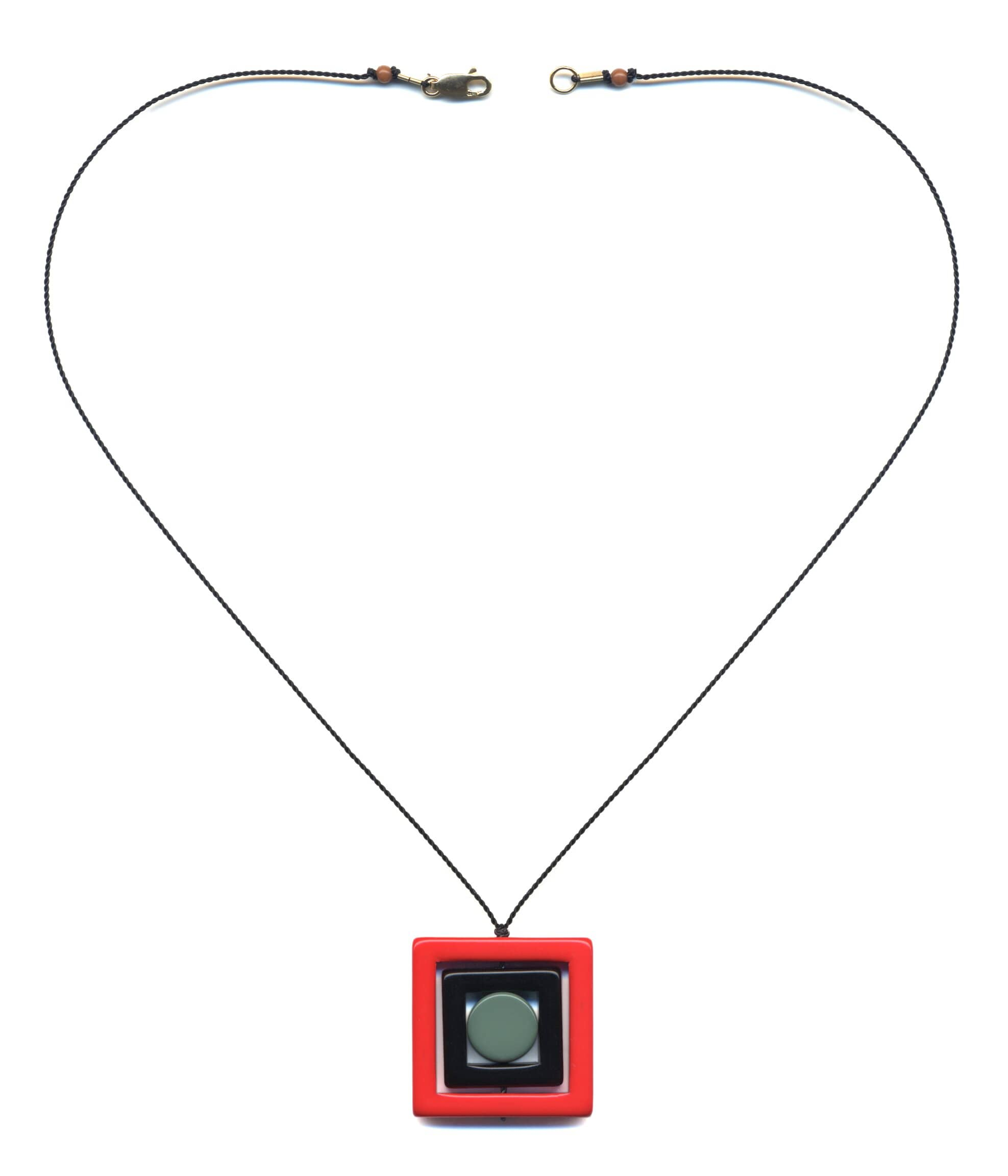 N1890 Red Square Necklace