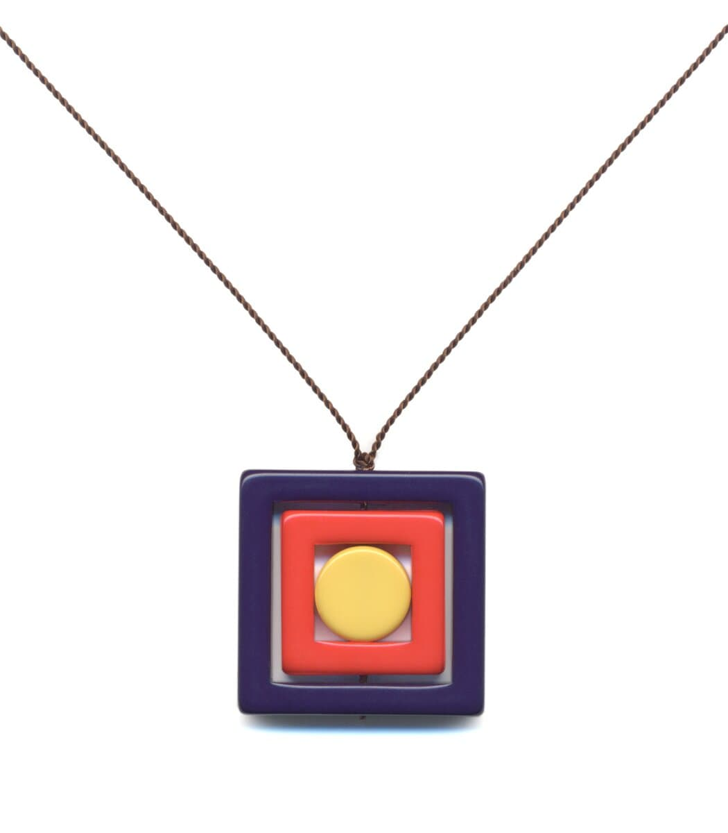 Irk Jewelry I. Ronni Kappos N1891 Navy Square Necklace