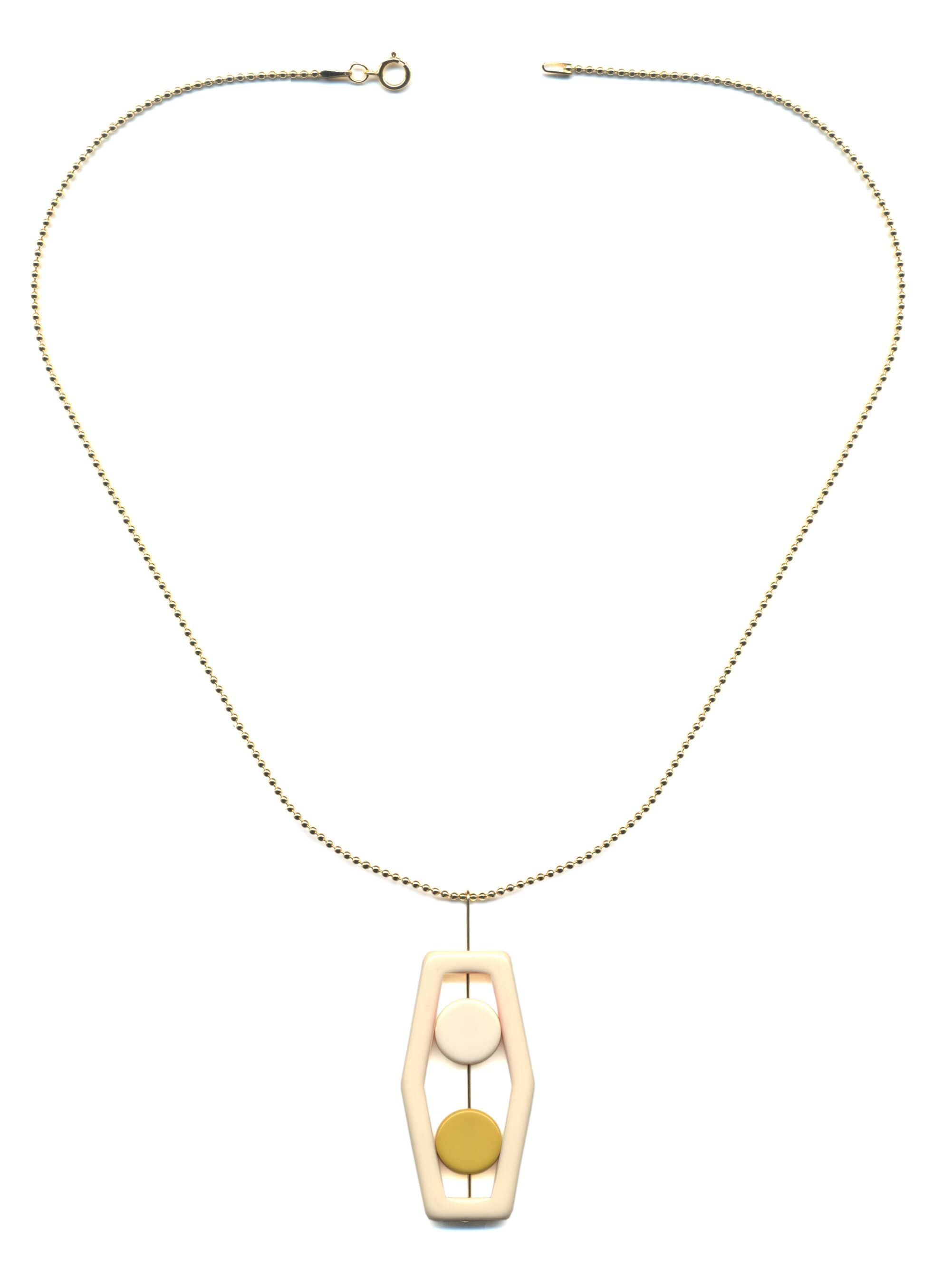N1897 White Lantern - Yellow Glow Necklace