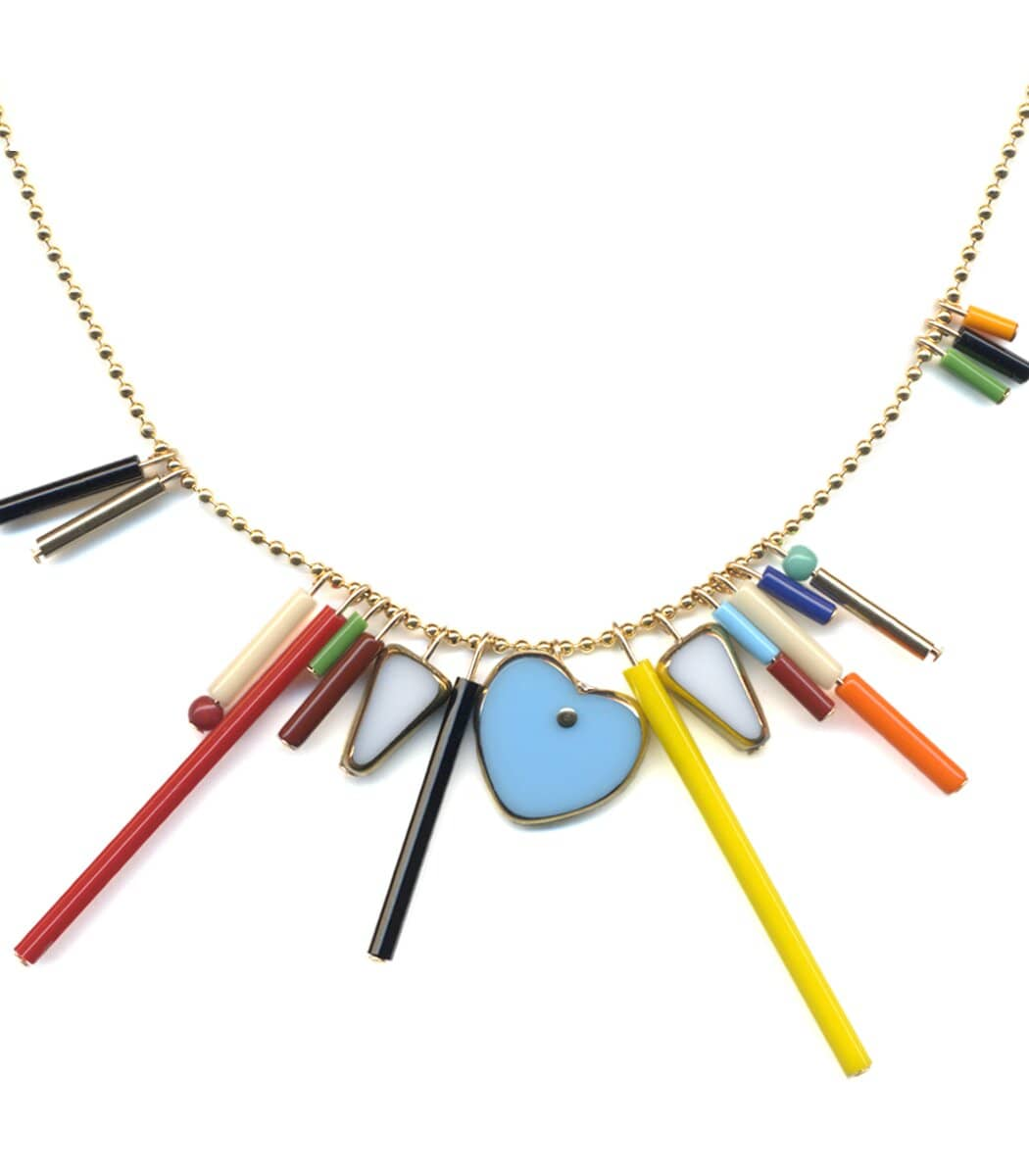 Irk Jewelry I. Ronni Kappos N1904 Heart Fringe Necklace