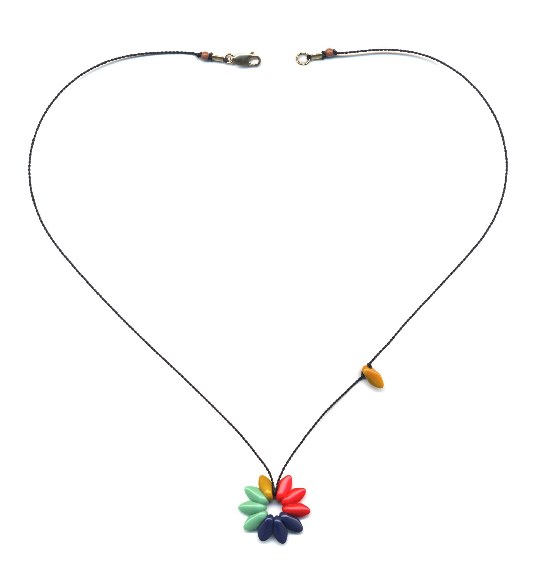 N1915 Small Colorblock Flower Necklace