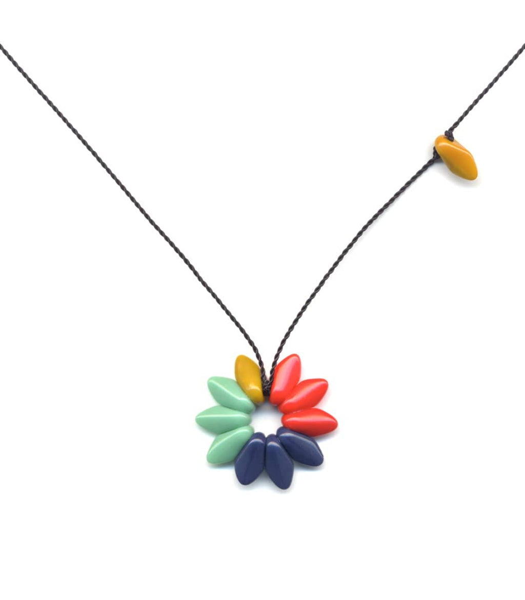 Irk Jewelry I. Ronni Kappos N1915 Small Colorblock Flower Necklace