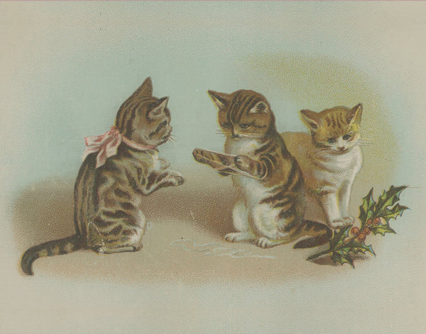 1800s Christmas Kittens Advertisement Card Lithograph Reprint