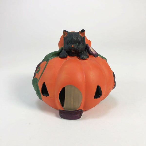 Vintage ceramic black cat in pumpkin