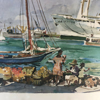 "Cecil Johnson signed Caribbean Cruise Port print 19.5"" x 16"""