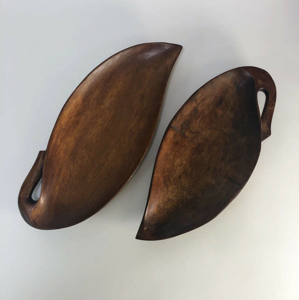 Lot of 2 Mid-Century wooden leaf trays  Made in the Philippines.