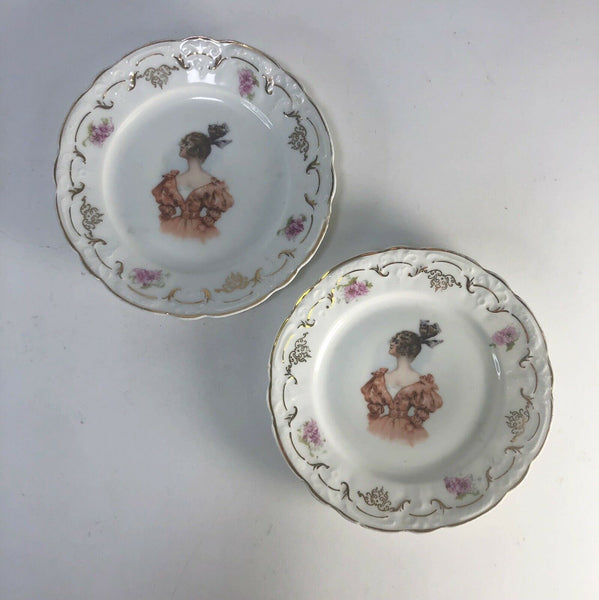 Set of 2 Bavarian china Victorian Lady plates