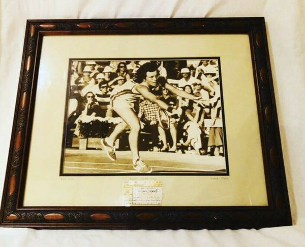 1969 Billie Jean King Framed Photo and Autographed Ticket Stub