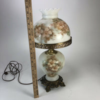 "Large 20"" Tall antique hand painted Brass And Porcelain lamp"