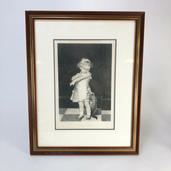 "1900 ""Naughty Pussy"" Original framed lithograph"