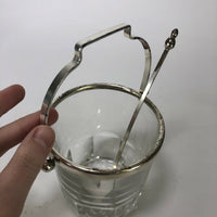 "Vintage leaded glass bar ice bucket with scoop  5"" x 4.5"""
