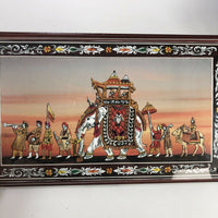 "Indian parade art print mounted to wooden plaque  15"" x 9"""