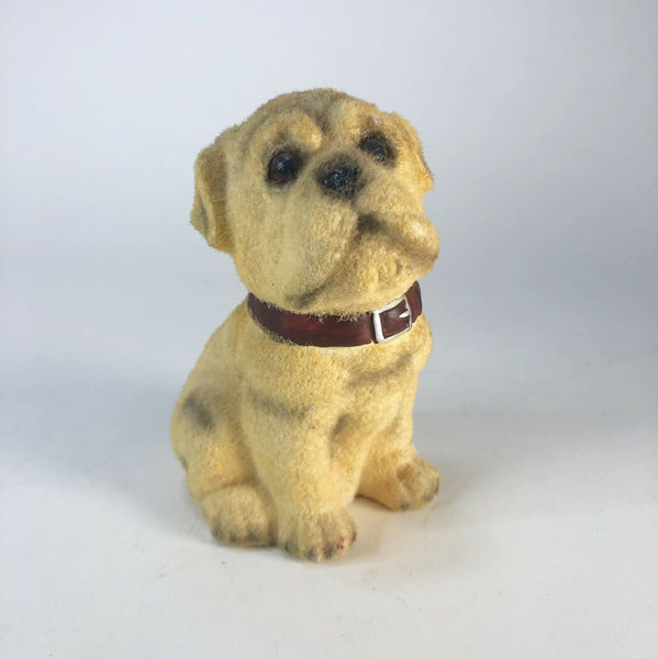 "Vintage flocked dog figurine  6"" tall"