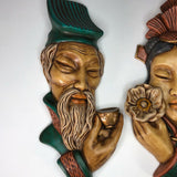 "1962 Asian Man and Woman ceramic hand painted busts  16"" tall each"