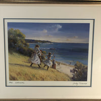 "Judy Talacko Framed The Welcome Art Print 17"" X 14.5"" Children At The Beach"