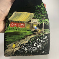 Vintage folk art southern scene Cocal-cola Barn painted iron