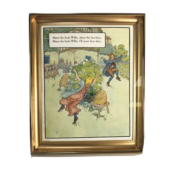 Antique P.F.V. & Co. Nursery Rhyme framed print