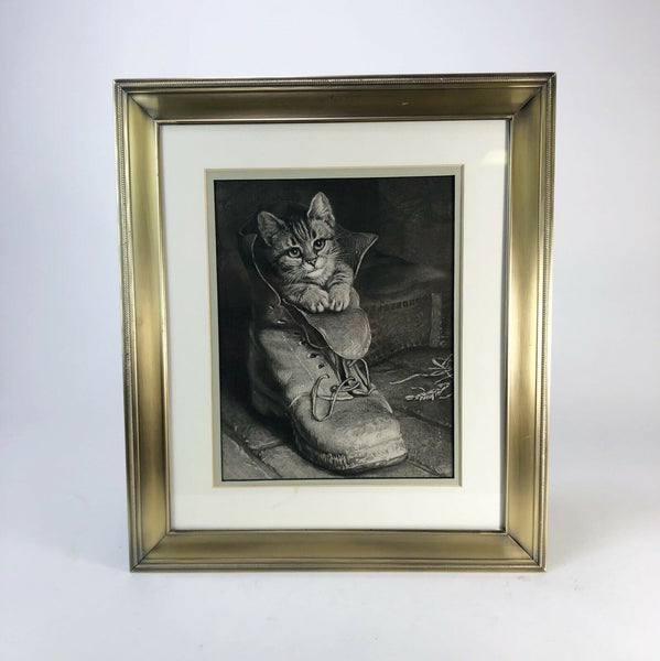 1900 Cat In Boot Wood Engraving Lithograph Framed