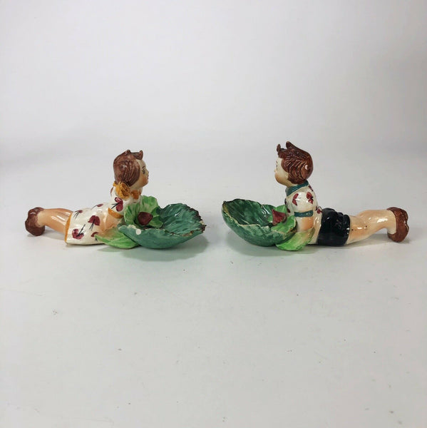 Vintage Italian made boy and girl trinket dishes  ~7 long