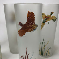 "6 Vintage Libbey Hi-Ball Hand Painted Game Birds Tumblers  7"" tall"