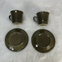 4 piece - 70s Sheffield Granada Olive Green Teacups and Saucers