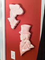 Vintage Pink Lady And Gentleman Ceramic Busts Wall Decor
